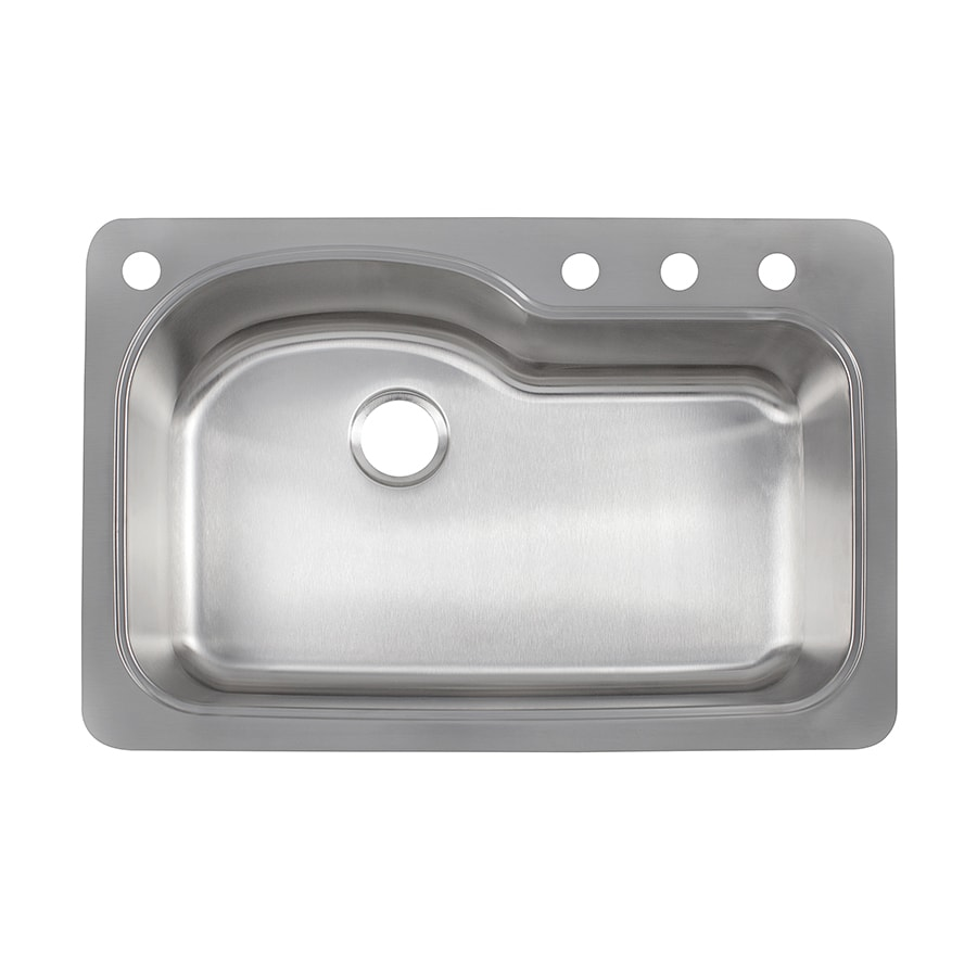 Franke Kinetic 33-in x 22-in Stainless Steel Single-Basin-Basin Stainless Steel Drop-in or Undermount 4-Hole Commercial/Residential Kitchen Sink