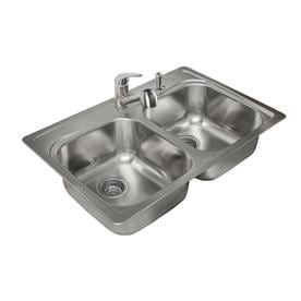 Kitchen Double Sinks Shop kitchen sinks at lowes kindred 33 in x 22 in double basin stainless steel drop in workwithnaturefo