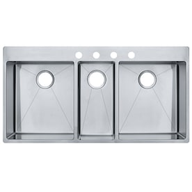 Swanstone Drop In 44 In X 22 In White Triple Bowl 3 Hole Kitchen Sink In The Kitchen Sinks Department At Lowes Com