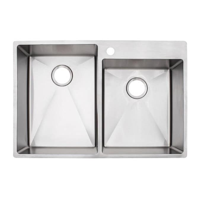 Franke Vector Dual Mount 33 In X 22 In Stainless Steel Double Offset Bowl 1 Hole Kitchen Sink In The Kitchen Sinks Department At Lowes Com