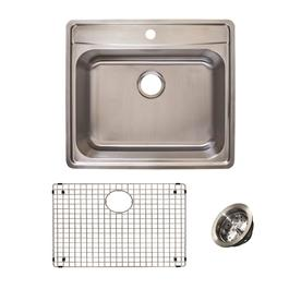 Franke Evolution All-in-One Drop-in Stainless Steel 25 in. 1-Hole Single Bowl Kitchen Sink Kit in Satin