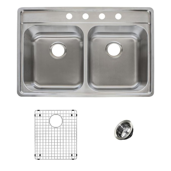 Franke Evolution Dual Mount 33 5 In X 22 5 In Stainless Steel Double Equal Bowl 4 Hole Kitchen Sink All In One Kit In The Kitchen Sinks Department At Lowes Com