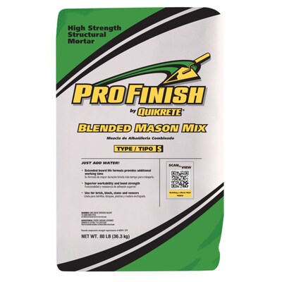 QUIKRETE Profinish 80-lb Gray Type-S Mortar Mix at Lowes com