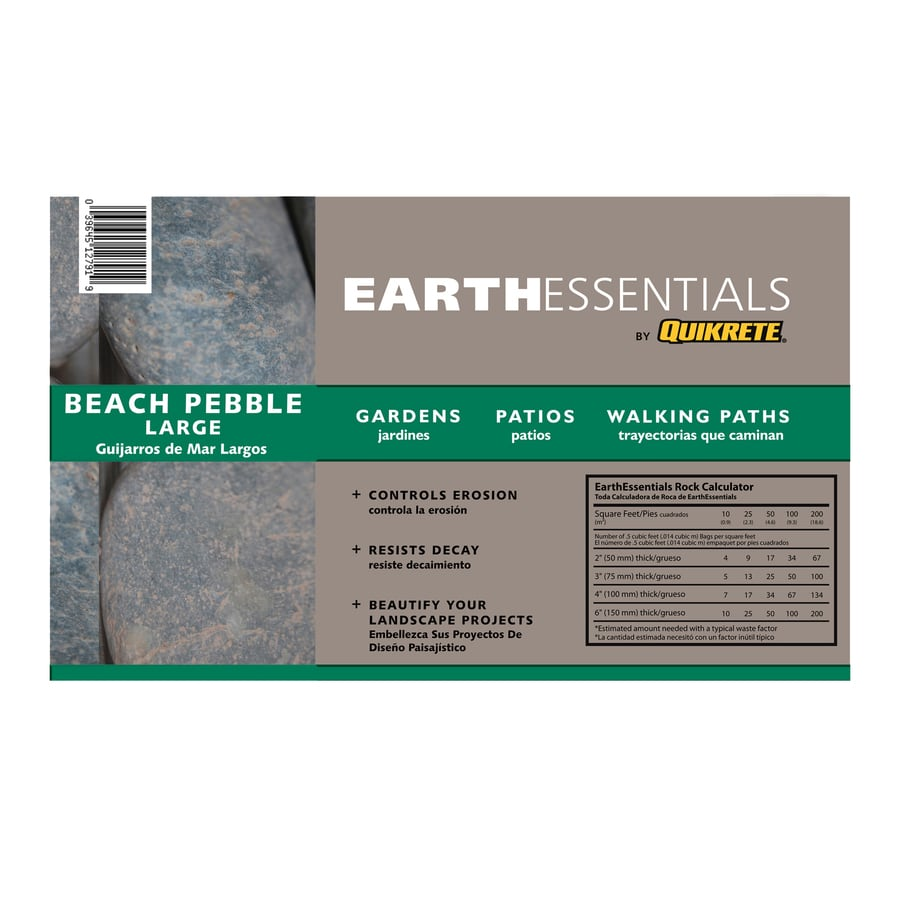 EARTHESSENTIALS BY QUIKRETE 0.5-cu ft Large Beach Pebbles
