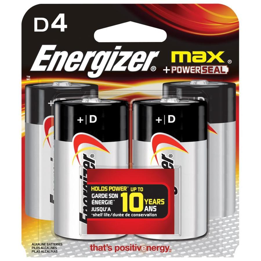 Energizer 4 Pack Size D Alkaline Batteries