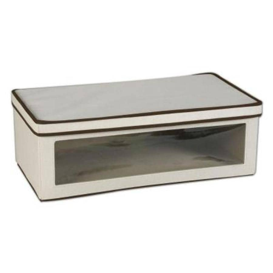 Household Essentials 8-in W x 24.25-in H x 13.25-in D Natural with Brown Trim Fabric Bin
