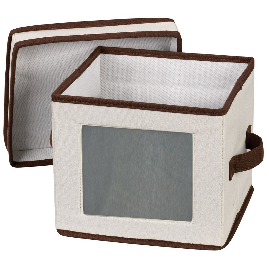 Household Essentials 8-in W x 9-in H x 9-in D Natural with Brown Trim Fabric Bin