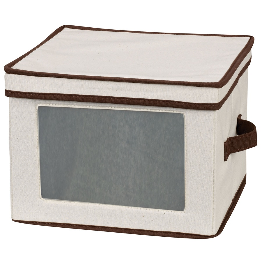 Household Essentials 8.5-in W x 12-in H x 12-in D Natural with brown trim Fabric Bin