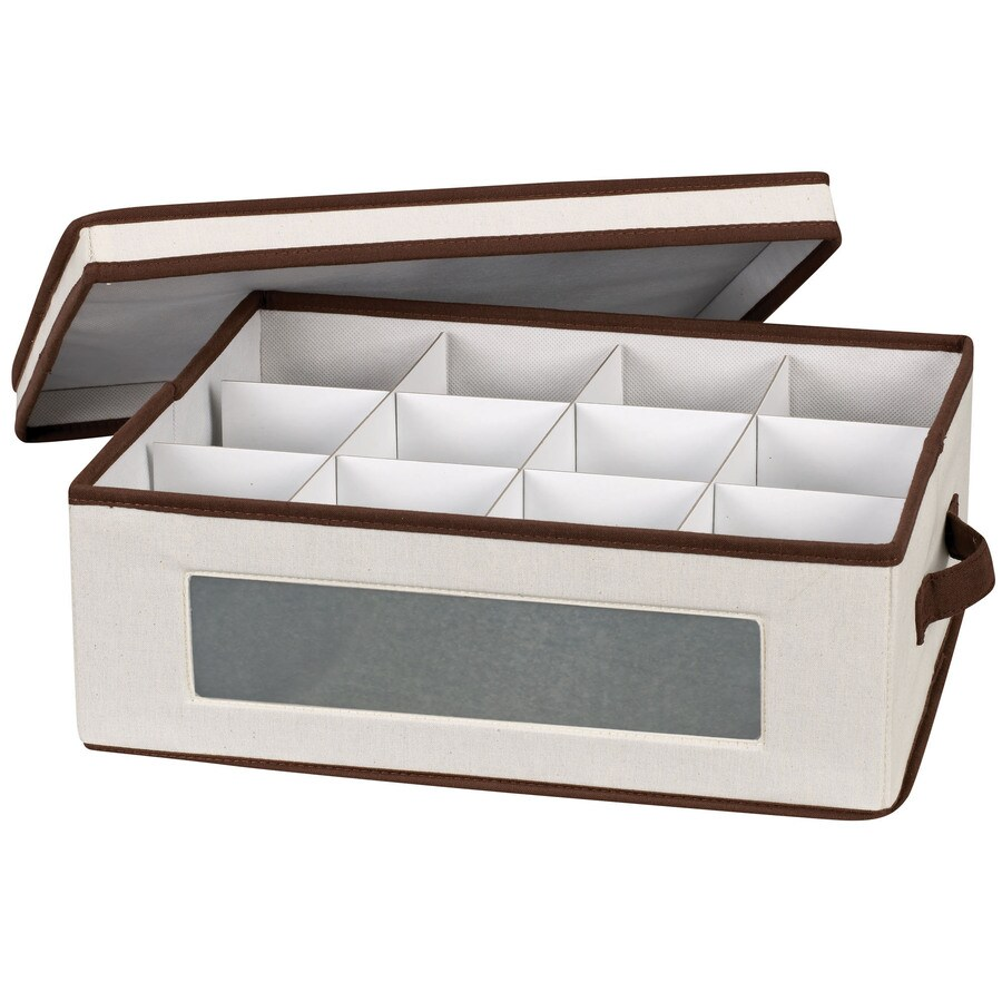 Household Essentials 5.5-in W x 13.25-in H x 15.5-in D Natural with Brown Trim Fabric Bin