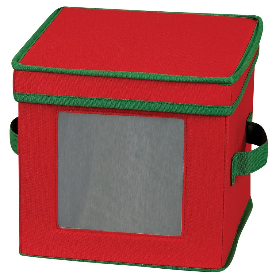 Household Essentials 8-in W x 9-in H x 9-in D Red with Green Trim Fabric Bin