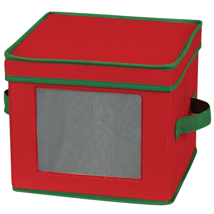 Household Essentials 8-in W x 10-in H x 10-in D Red with green trim Fabric Bin