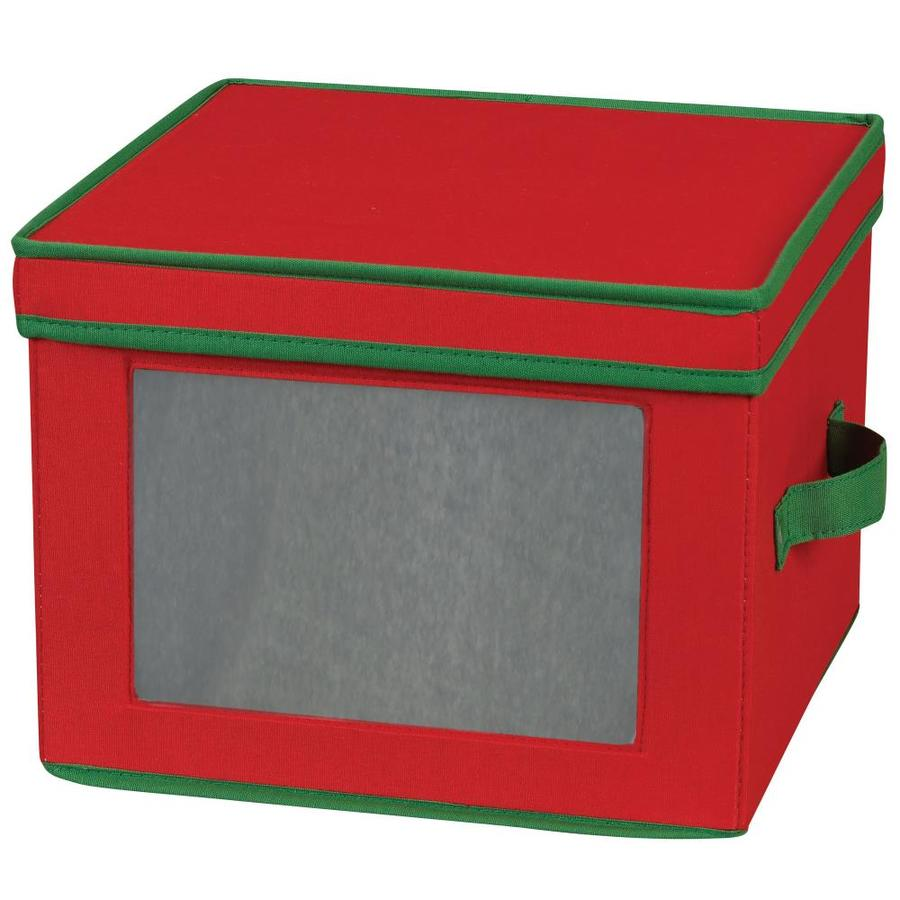 Household Essentials 8.5-in W x 12-in H x 12-in D Red with Green Trim Fabric Bin