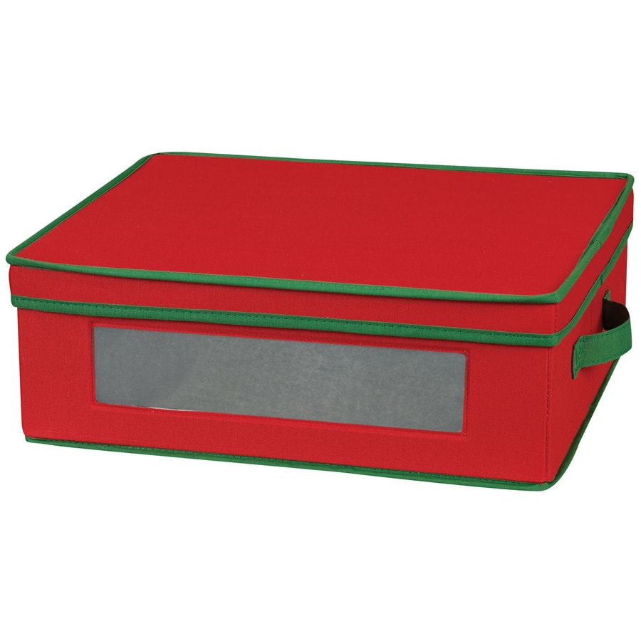 Household Essentials 5.5-in W x 15.5-in H x 13.25-in D Red with Green Trim Fabric Bin