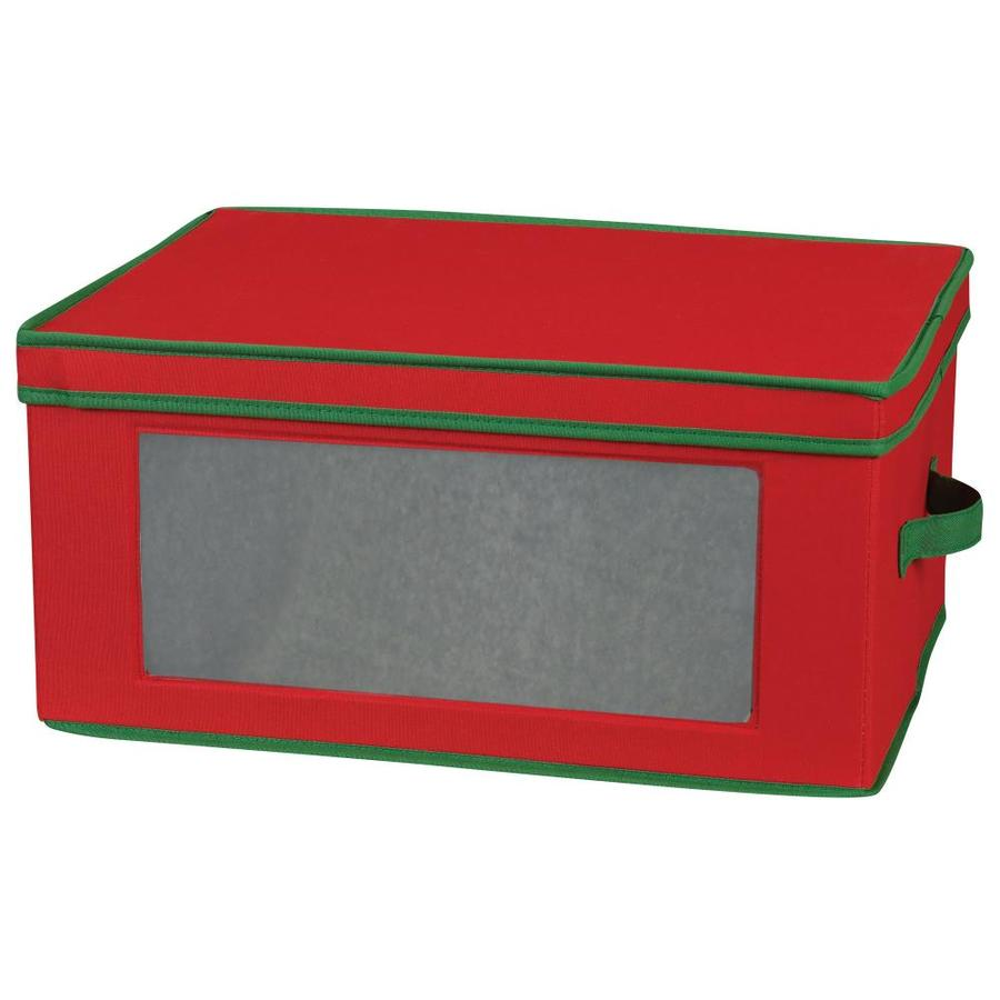 Household Essentials 10.5-in W x 16.5-in H x 13-in D Red with Green Trim Fabric Bin