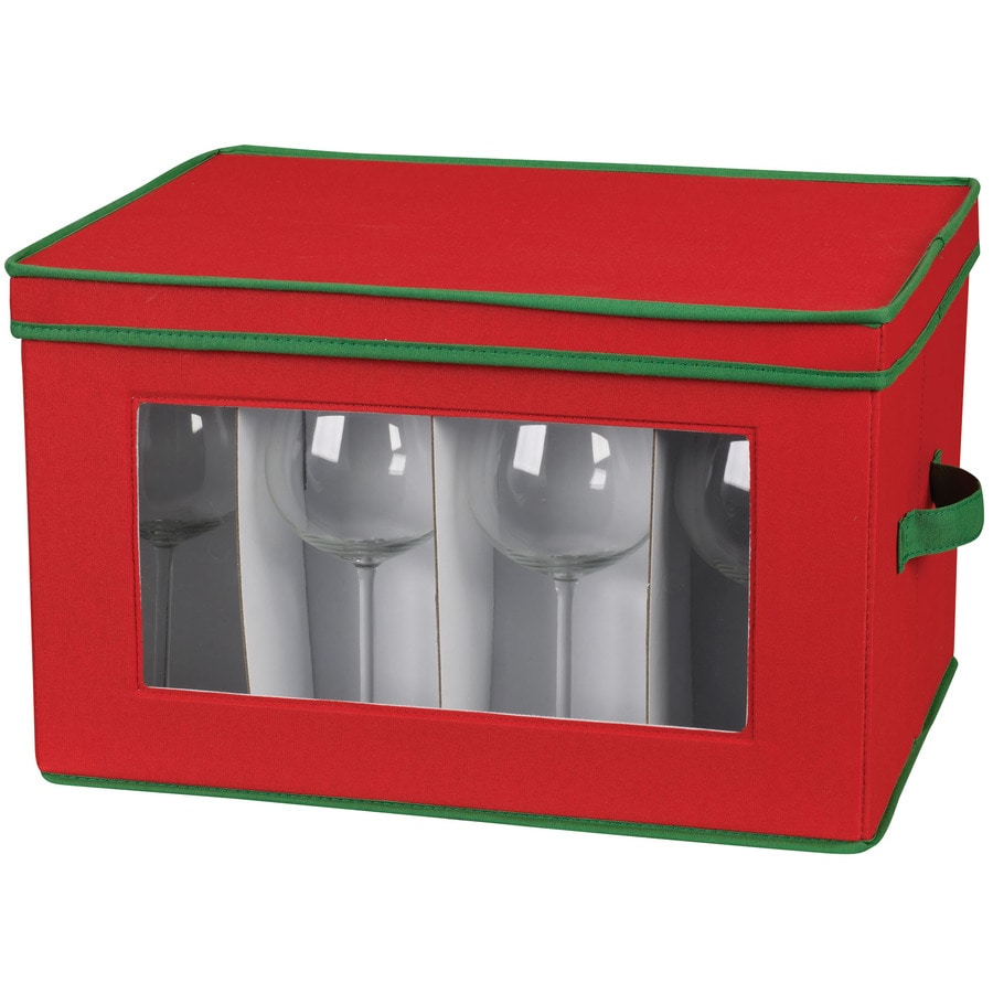 Household Essentials 8.5-in W x 18.5-in H x 14-in D Red with Green Trim Fabric Bin