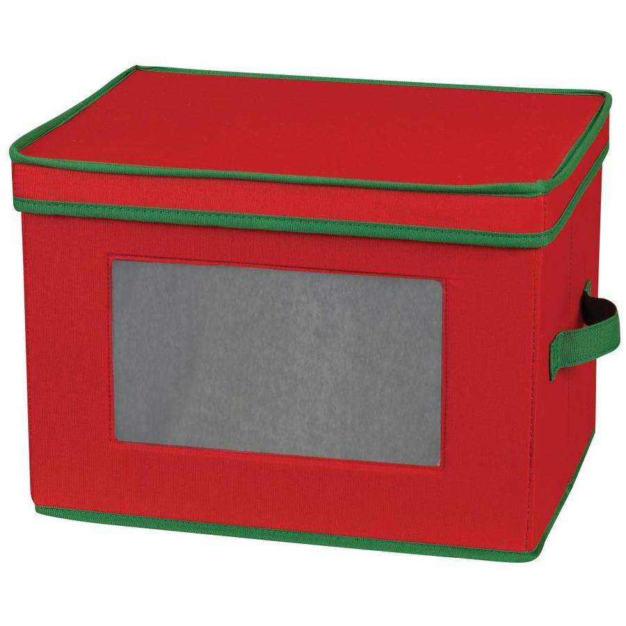 Household Essentials 9.75-in W x 14.5-in H x 11-in D Red with Green Trim Fabric Bin