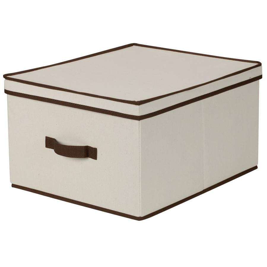 Household Essentials 10-in W x 16-in H x 19-in D Natural with Brown Trim Fabric Bin