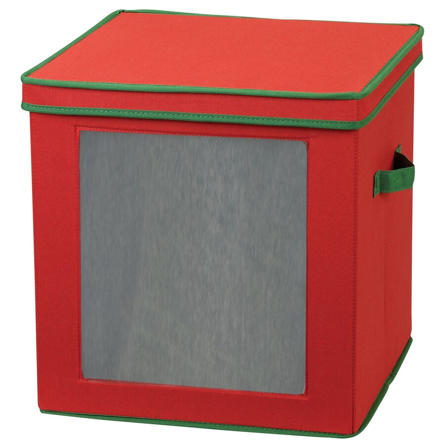 Household Essentials 15-in W x 15-in H x 15-in D Red with Green Trim Fabric Bin