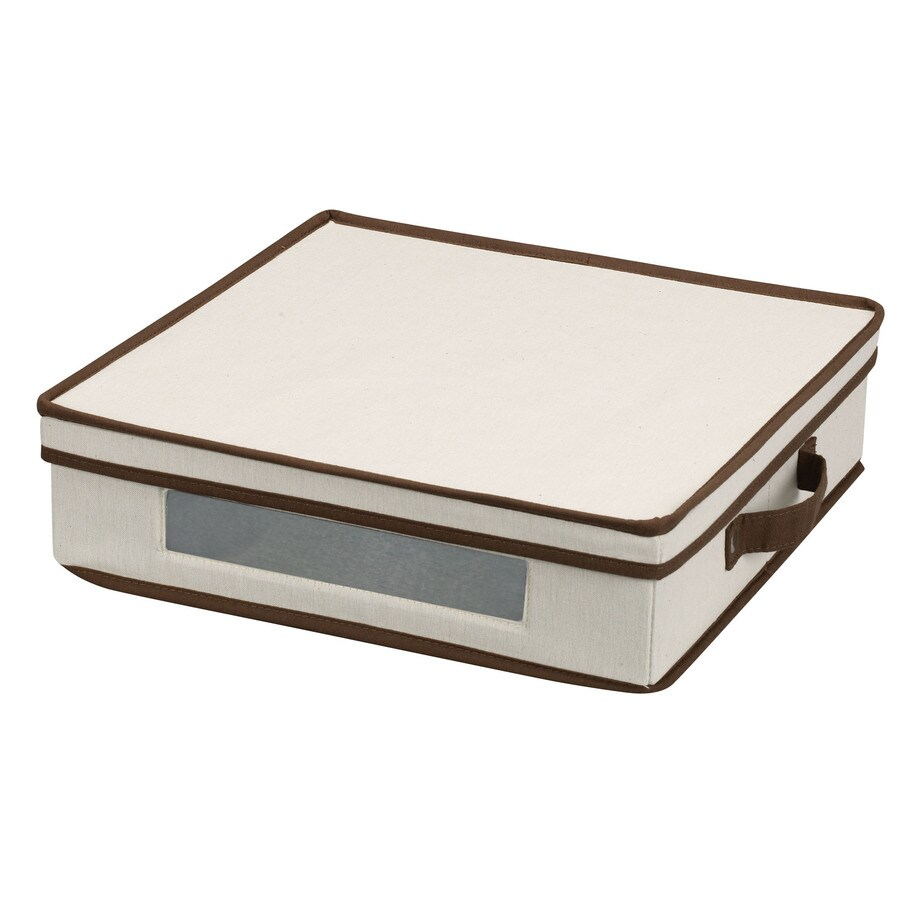 Household Essentials 4-in W x 14.5-in H x 14.5-in D Natural with Brown Trim Fabric Bin