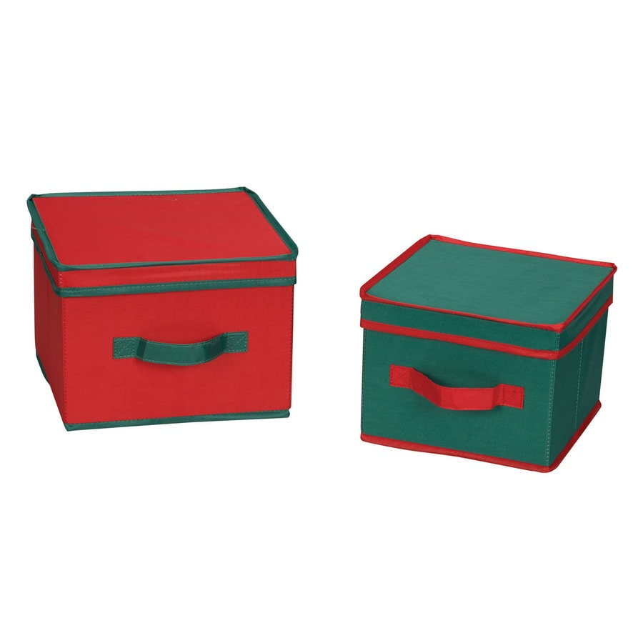 Household Essentials 7.5-in W x 10-in H x 10-in D Red with Green Trim Fabric Bin