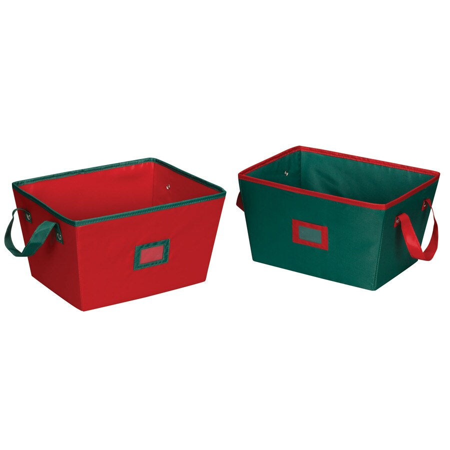 Household Essentials 7.5-in W x 10-in H x 13-in D Red with Green Trim Fabric Bin