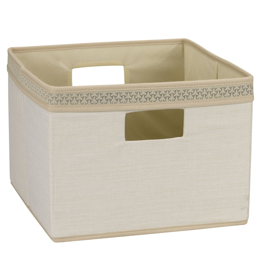 Household Essentials 10-in W x 13-in H x 13-in D Ivory Fabric Bin