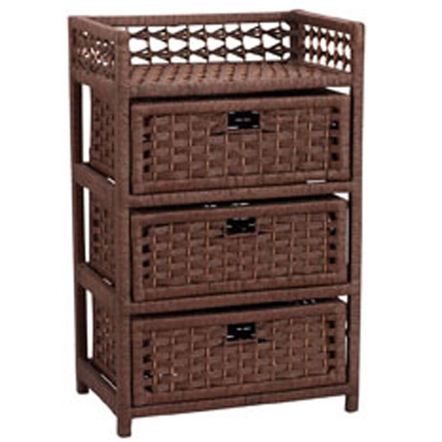 Household Essentials 16.93-in x 26.38-in 3 Brown Wicker Cart