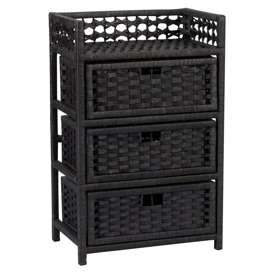 Household Essentials 16.93-in x 26.38-in 3 Black Wicker Cart
