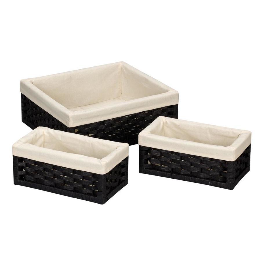 Household Essentials 3-Pack 16-in W x 6.1-in H x 14.4-in D Black Wicker Basket