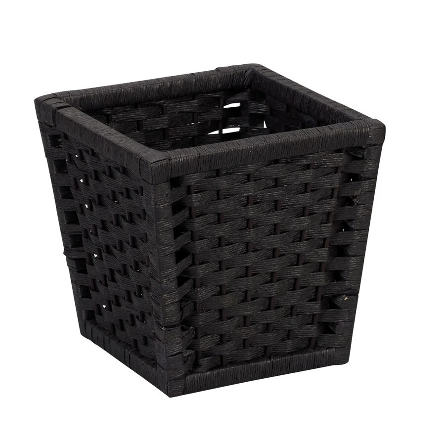Household Essentials Black Mixed Material Wastebasket