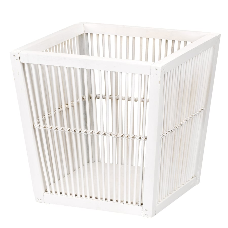 Household Essentials White Bamboo Wastebasket