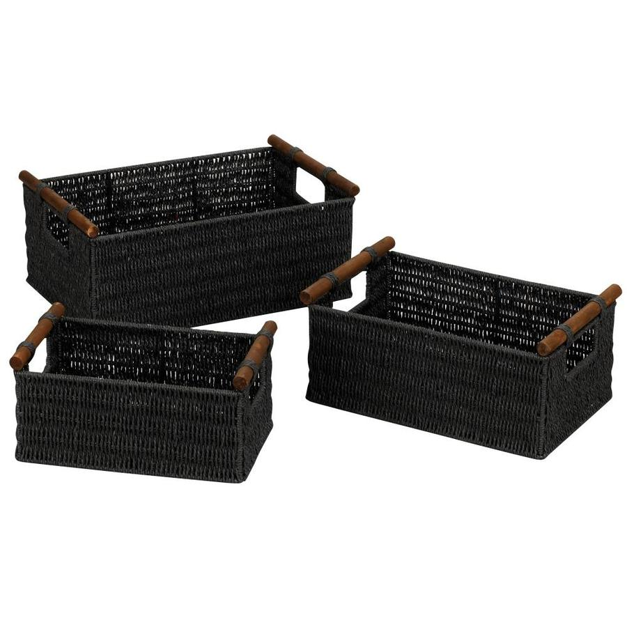 Household Essentials 3-Pack 14.5-in W x 5.5-in H x 9.5-in D Black Wicker Basket