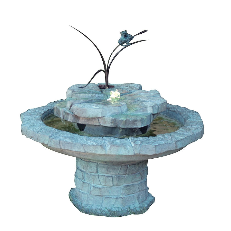 Henri Studio Cattail and Frog Patio 1-Tier Indoor/Outdoor Fountain with Pump