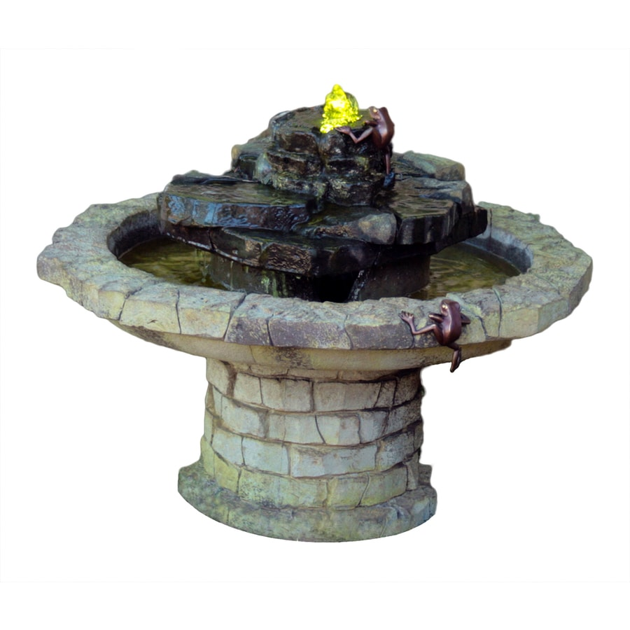 Henri Studio Climbing Frogs Patio 1-Tier Indoor/Outdoor Fountain with Pump