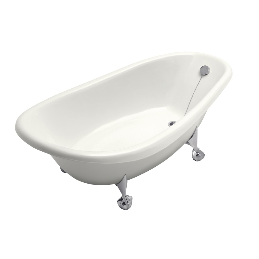 KOHLER Birthday Bath 72 In White Cast Iron Clawfoot Bathtub With Reversible  Drain