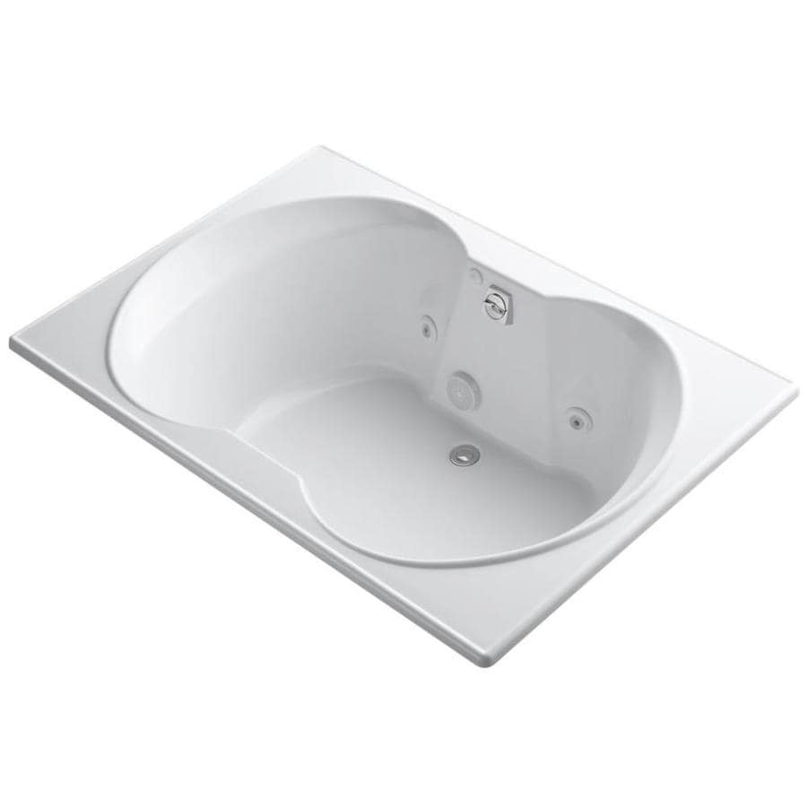 KOHLER Overture 60-in White Acrylic Drop-In Whirlpool Tub with Front Center Drain