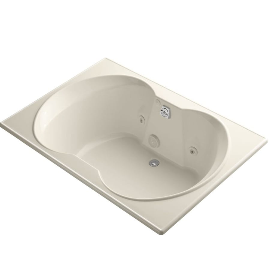 KOHLER Overture 60-in Almond Acrylic Drop-In Whirlpool Tub with Front Center Drain