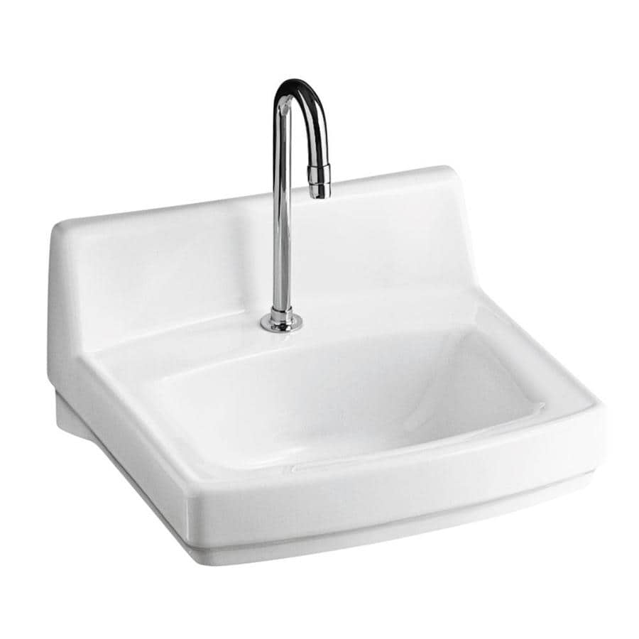 KOHLER Greenwich White Wall-Mount Rectangular Bathroom Sink with Overflow