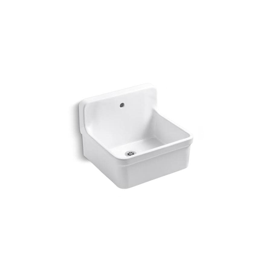 KOHLER 18-in x 22-in White Wall Mount Vitreous China Laundry Sink