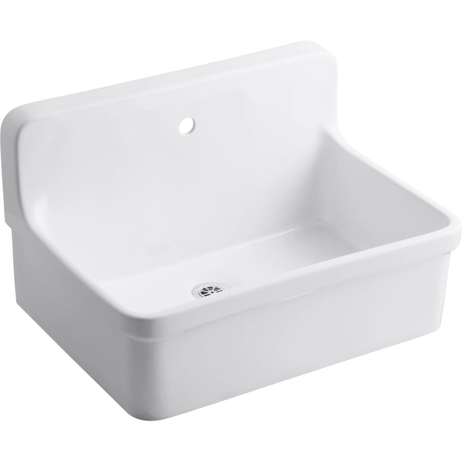KOHLER 18-in x 28-in White Wall Mount Vitreous China Laundry Sink