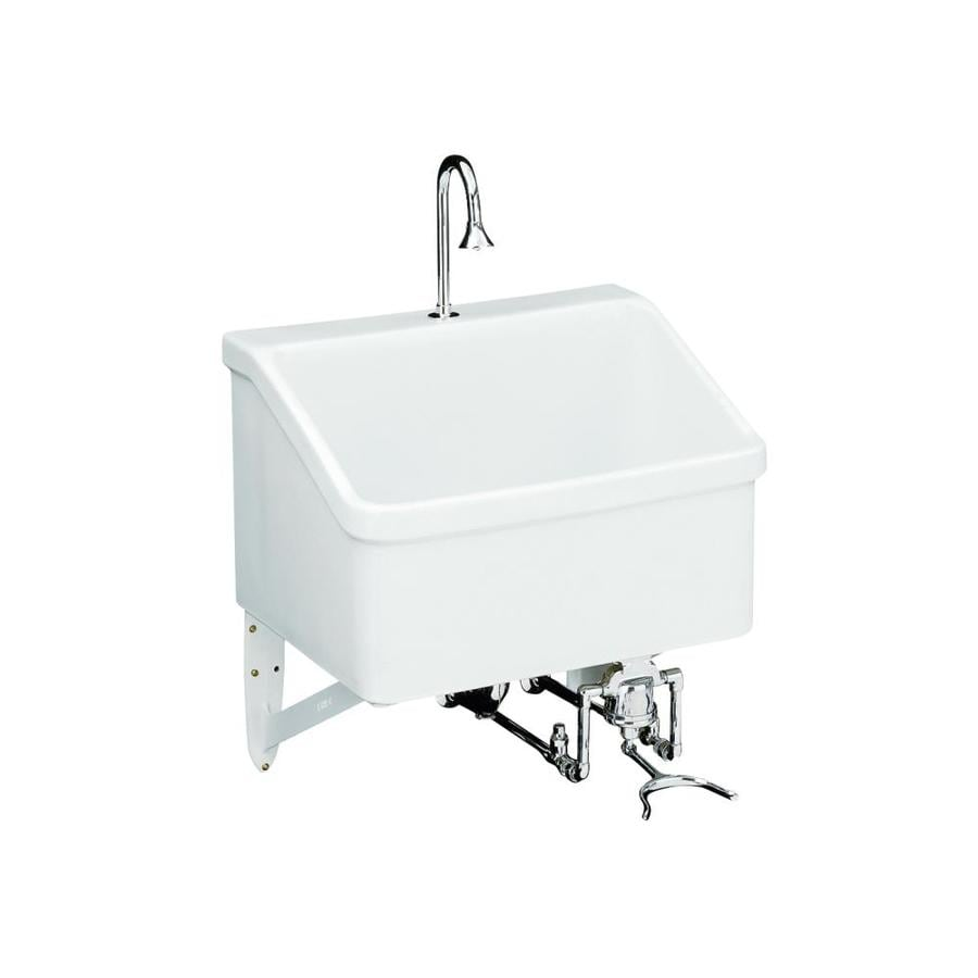 ... White Wall Mount Vitreous China Laundry Sink Utility Sink at Lowes.com