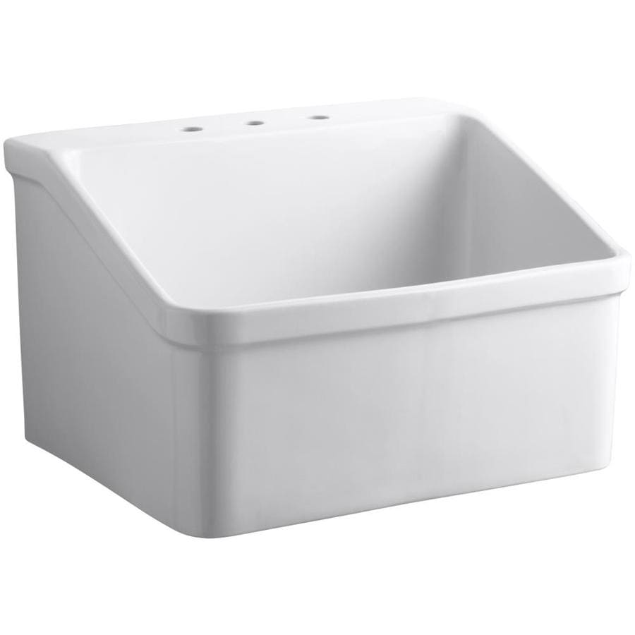 KOHLER 22-in x 28-in 1-Basin White Wall Mount Vitreous China Laundry Sink Utility Sink