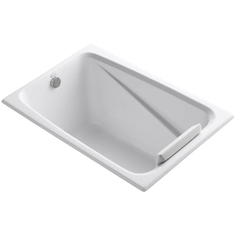 KOHLER Greek 48-in White Acrylic Drop-In Bathtub with Reversible Drain