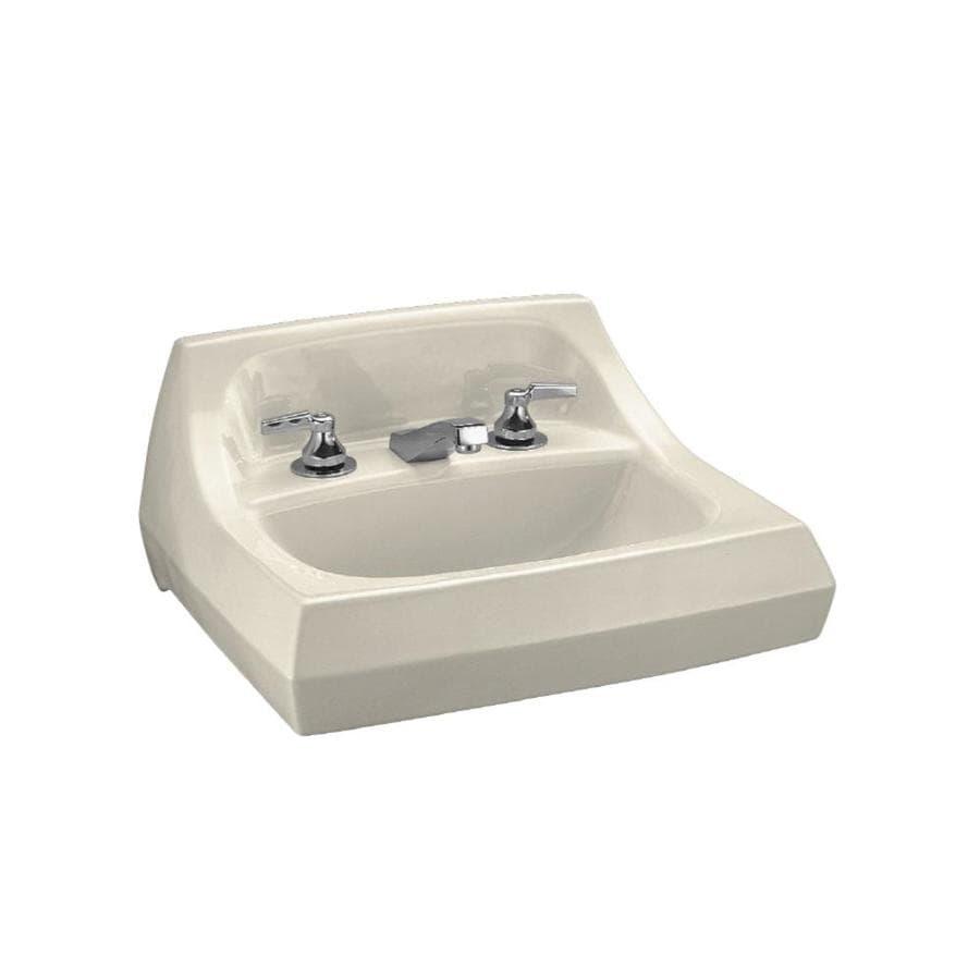 KOHLER Kingston Almond Wall-Mount Rectangular Bathroom Sink with Overflow
