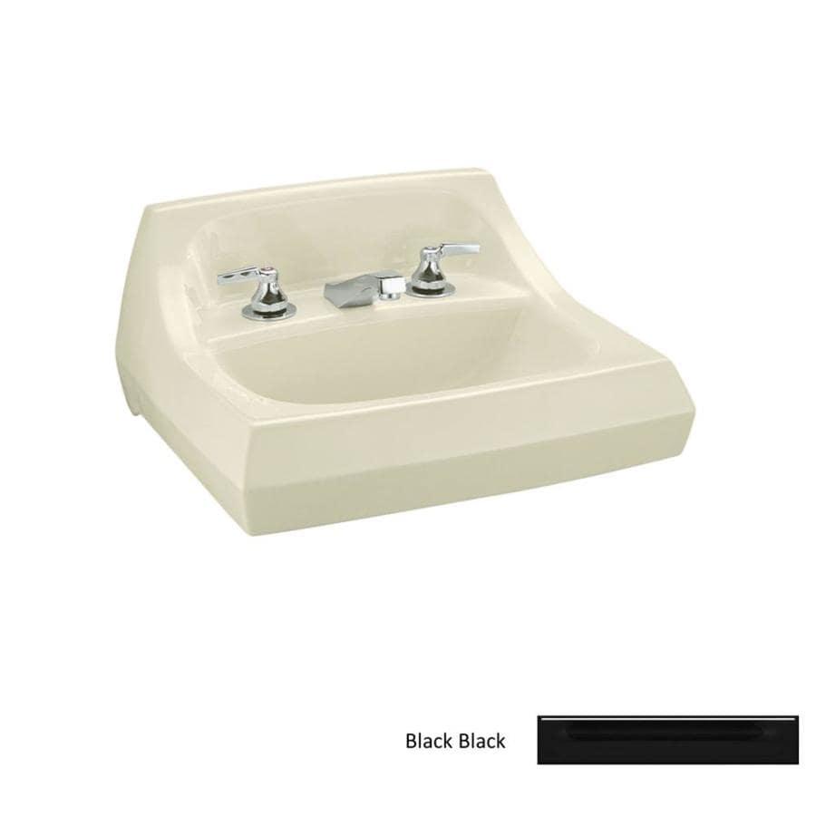 KOHLER Kingston Black Wall-Mount Rectangular Bathroom Sink with Overflow