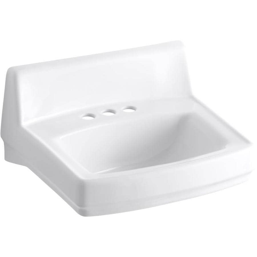 Shop KOHLER Greenwich White Wall-Mount Rectangular Bathroom Sink ...