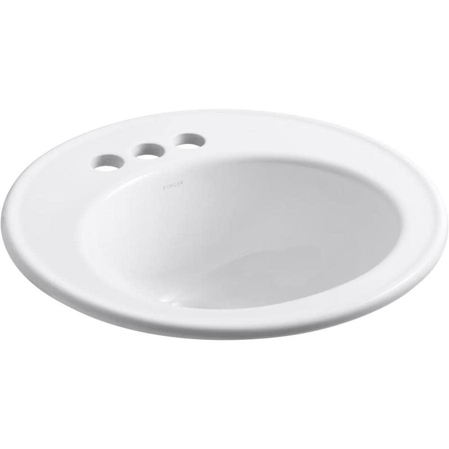 KOHLER Brookline White Drop-in Round Bathroom Sink with Overflow
