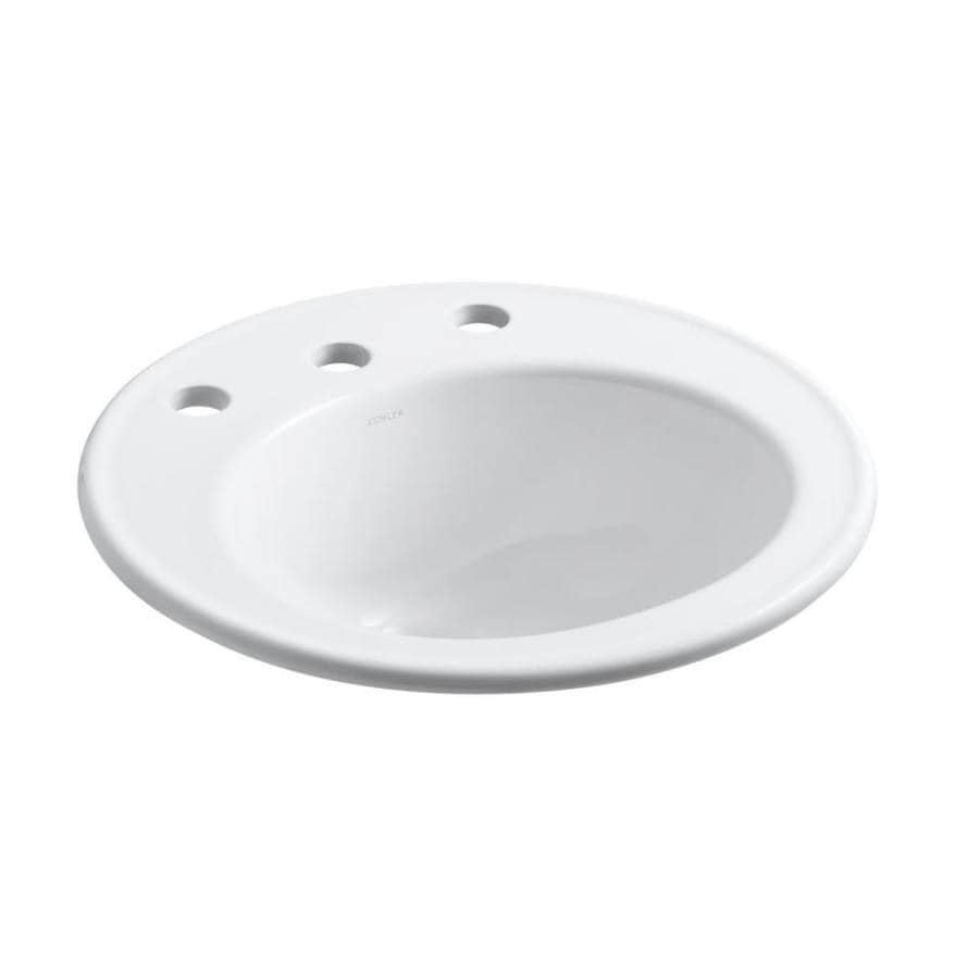 KOHLER Brookline White Drop-In Round Bathroom Sink with Overflow