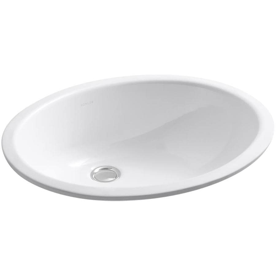 KOHLER Caxton White Undermount Oval Bathroom Sink with Overflow