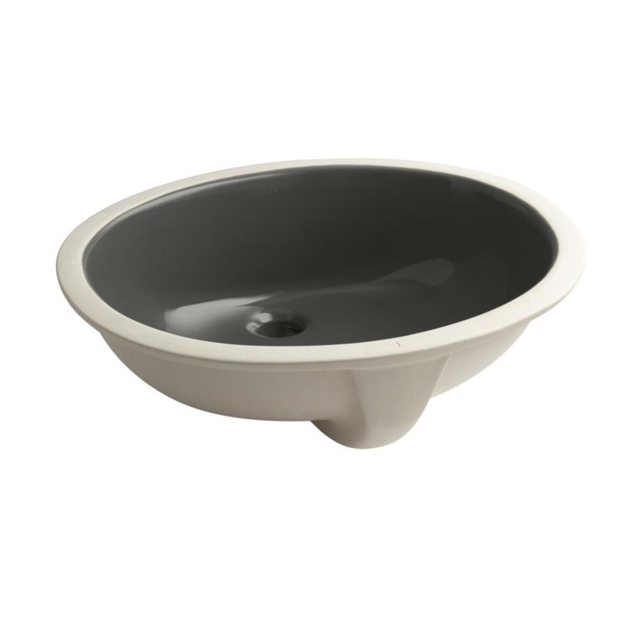 KOHLER Caxton Thunder Grey Undermount Oval Bathroom Sink with Overflow